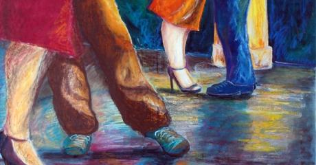 Tango en Amsterdam - óleo y pastel sobre canvas | 60x80 - Graciela Cohan - año 2011
