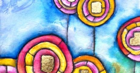 Nicolás Obiglio | Flores de Hundertwasser, 2014 | acuarela, tintas sobre papel