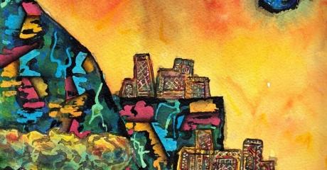 Nicolás Obiglio | Construyendo sobre el margen II, 2015 | acuarela, tintas sobre papel