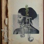Andrea Burcaizea | A pesar mío | Collage sobre papel sobre tapa de libro antiguo | 2015, 19x26 cm