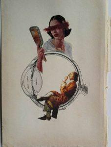 Andrea Burcaizea | La vista de la serie en proceso. Los sentidos | Collage sobre papel | 2017, 219x14 cm