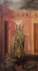 Mujer saliendo del psicoanalista - Remedios Varo