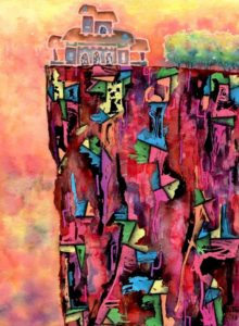 Nicolás Obiglio | Construyendo sobre el margen, 2013 | acuarela, tintas sobre papel