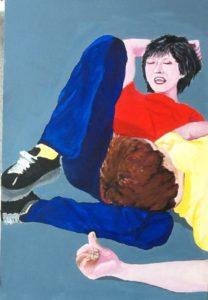Graciela Graschinsky de Cohan | Encuentro | Acrìlico sobre papel entelado Medidas | 2010, 30 x 45 cm.